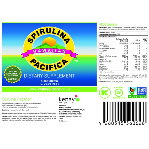 Spirulina Pacifica ® hawaiana 500 mg (4200 compresse) – integratore alimentare